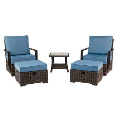 Whitfield 5-Piece Dark Brown Wicker Outdoor Patio Bistro Set with Standard Steel Blue Cushions