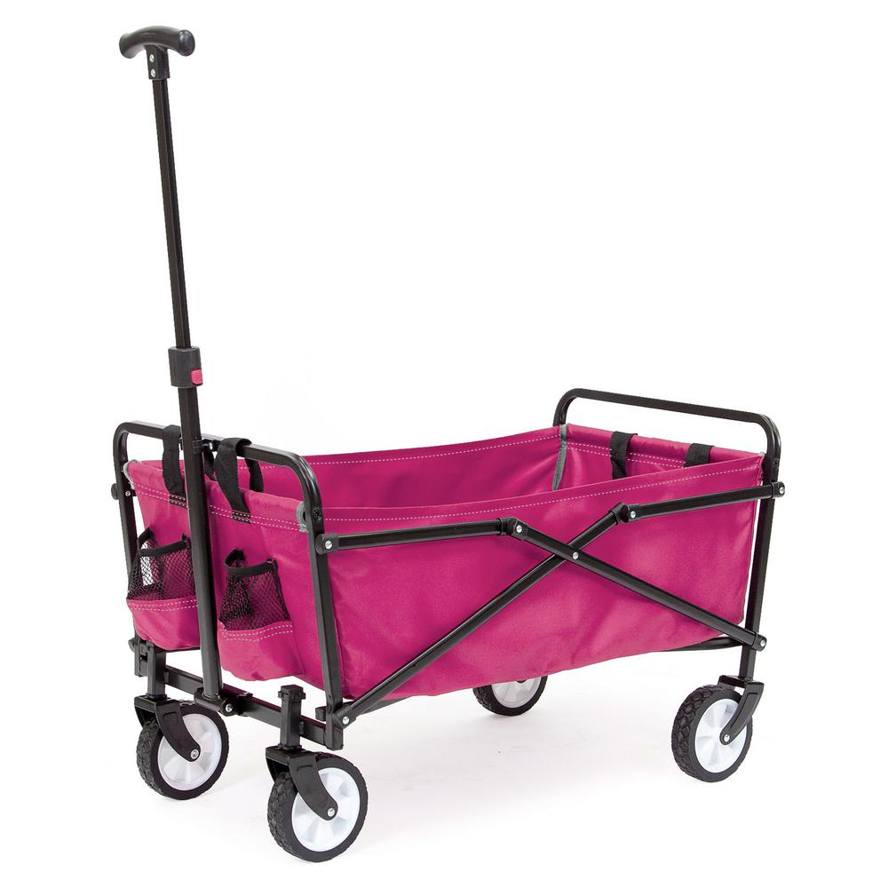 SEINA 150 lbs. Weight Capacity Steel Frame Compact Folding Utility Wagon Cart with Pockets