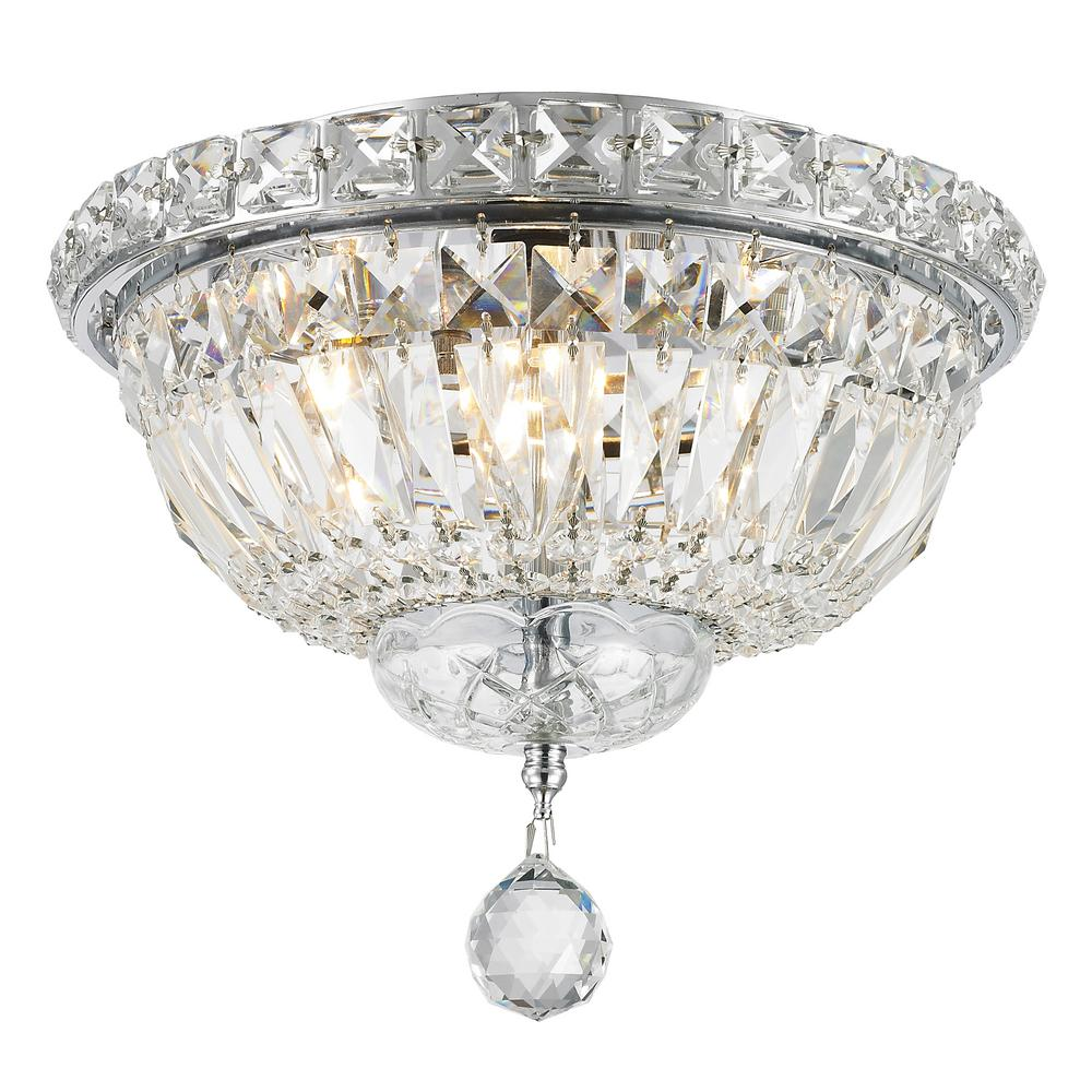 Worldwide Lighting Empire Collection 4-Light Chrome Ceiling Light with Clear Crystal