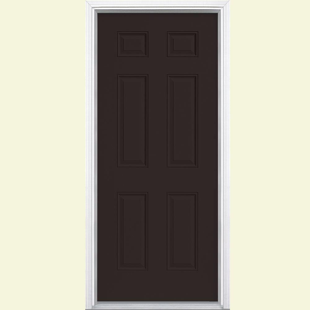 6-Panel Painted Smooth Fiberglass Prehung Front Door with Brickmold & Brown - Front Doors - Exterior Doors - The Home Depot pezcame.com