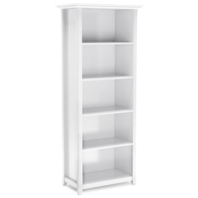 70 in. x 30 in. Amherst White Solid Wood 5-Shelf Bookcase