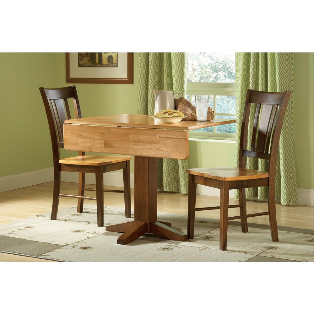 International Concepts Cinnamon And Espresso Solid Wood Dropleaf Dining Table T58 36sdp The Home Depot