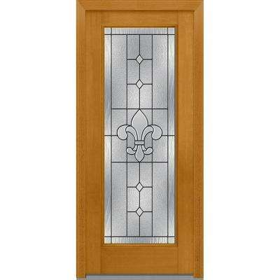 32 in. x 80 in. Carrollton Right-Hand Inswing Full Lite Decorative Stained Fiberglass Mahogany Prehung Front Door
