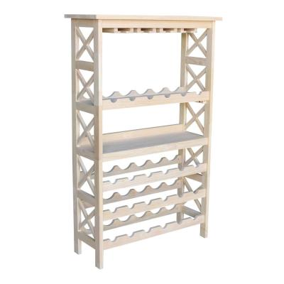 24-Bottle Unfinished Solid Wood Wine Rack