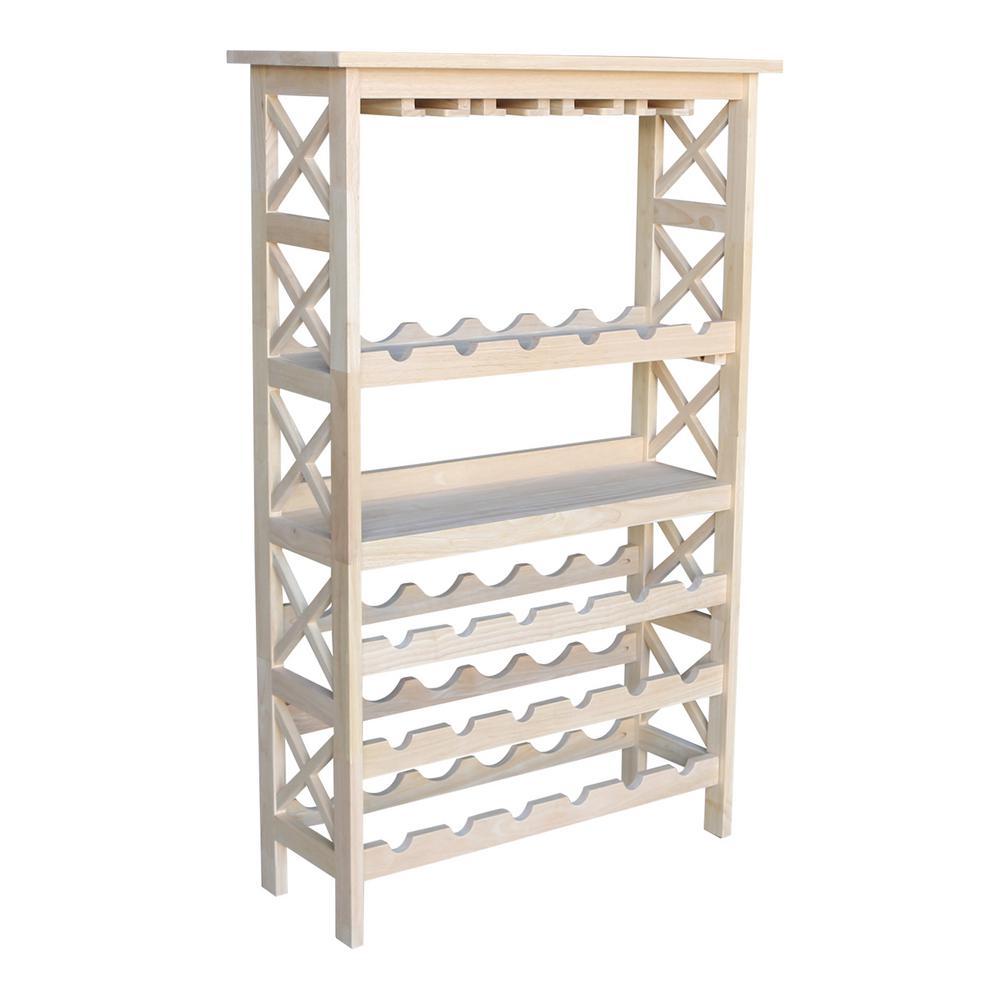 International Concepts 24-Bottle Unfinished Solid Wood Wine Rack WR-3048X