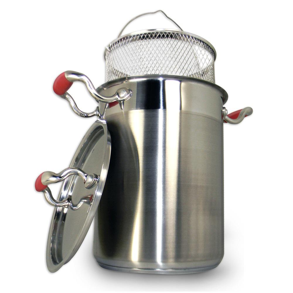 4.25 Qt. Professional Stainless Steel Vegetable Cooker with Wire Basket and