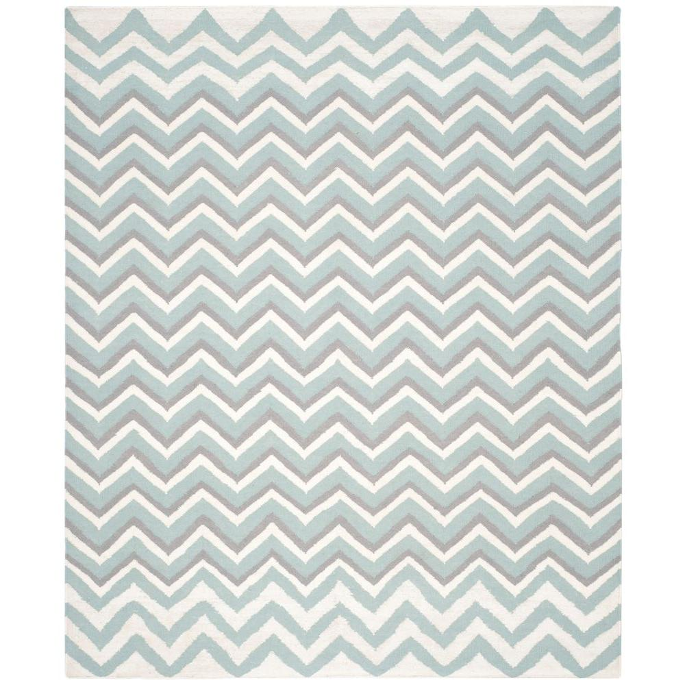 Dhurries Blue/White 8 ft. x 10 ft. Area Rug