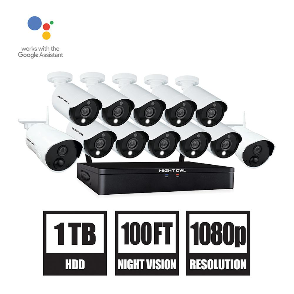 Night Owl 20-Channel 1080p HD Hybrid Wired + Wireless 1TB DVR Security Surveillance System with 10-Wired and 2-Wireless Cameras