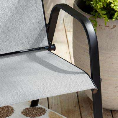 Mix and Match Stackable Sling Outdoor Dining Chair in Wet Cement (2-Pack)