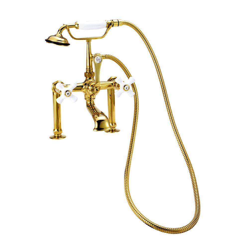 Elizabethan Classics RM05 3-Handle Claw Foot Tub Faucet with Handshower and 6 in. Risers in Chrome