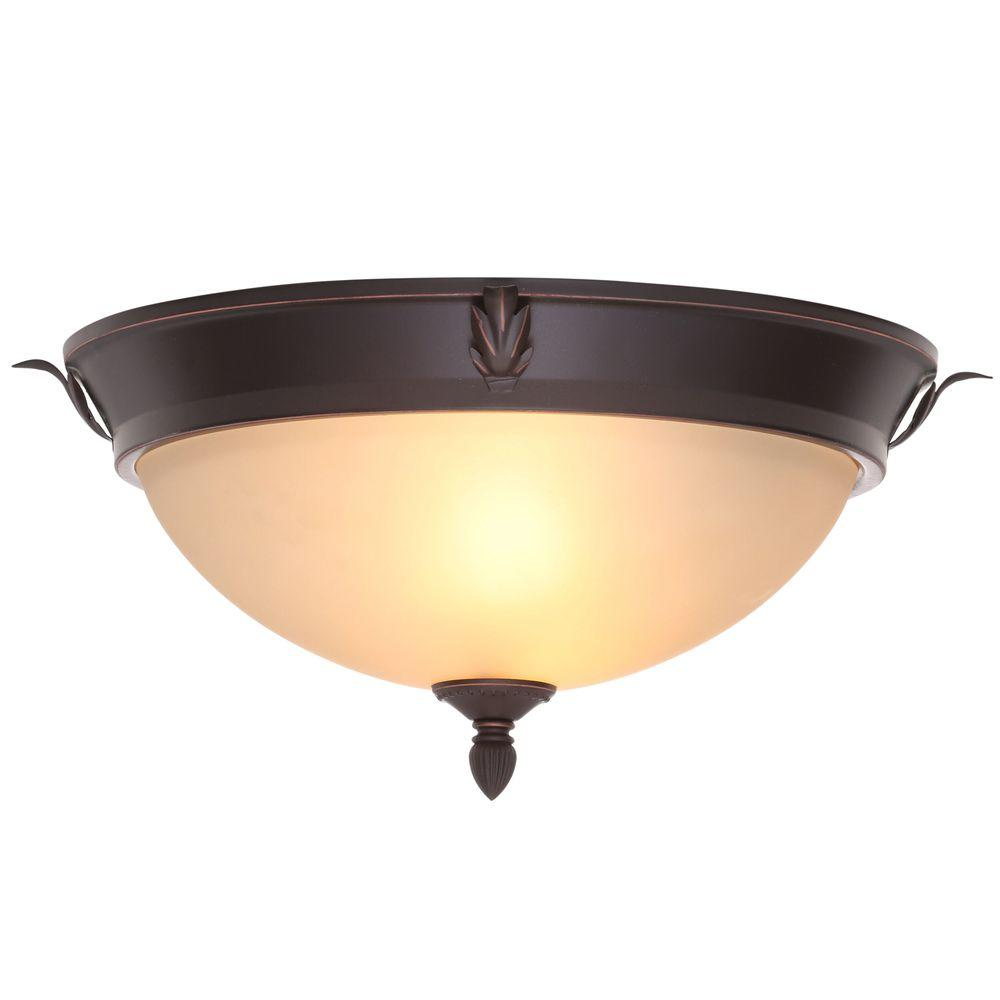 15 in. 2-Light Oil-Rubbed Bronze Flushmount with Tea Stained Glass Shade