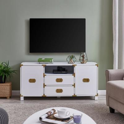 Borstene 52 in. White Wood TV Stand with 2 Drawer Fits TVs Up to 50 in. with Storage Doors