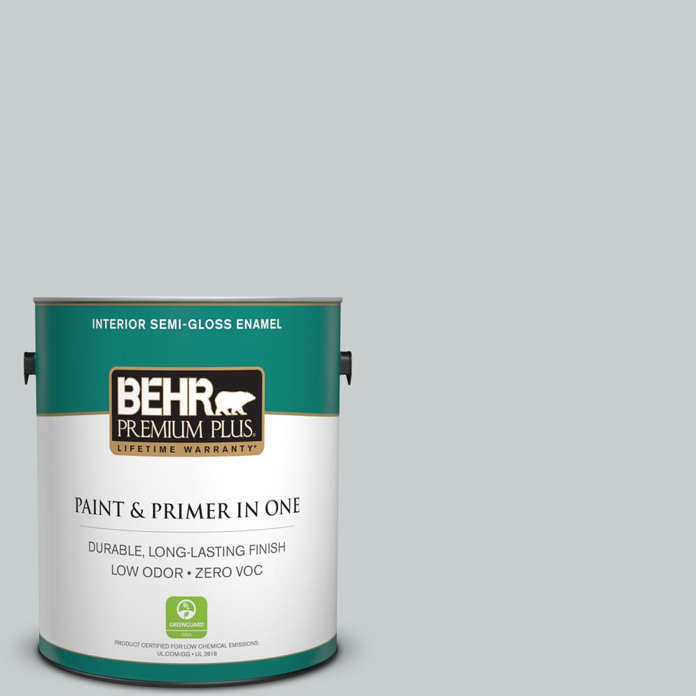 BEHR Premium Plus 1-gal. #720E-2 Light French Gray Zero VOC Semi-Gloss Enamel Interior Paint