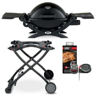 Q 1200 1-Burner Portable Propane Gas Grill in Black Combo with Rolling Cart and iGrill Mini