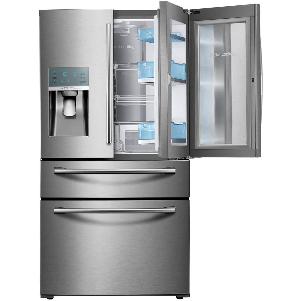Samsung 27 8 Cu Ft Food Showcase 4 Door French Refrigerator In Stainless