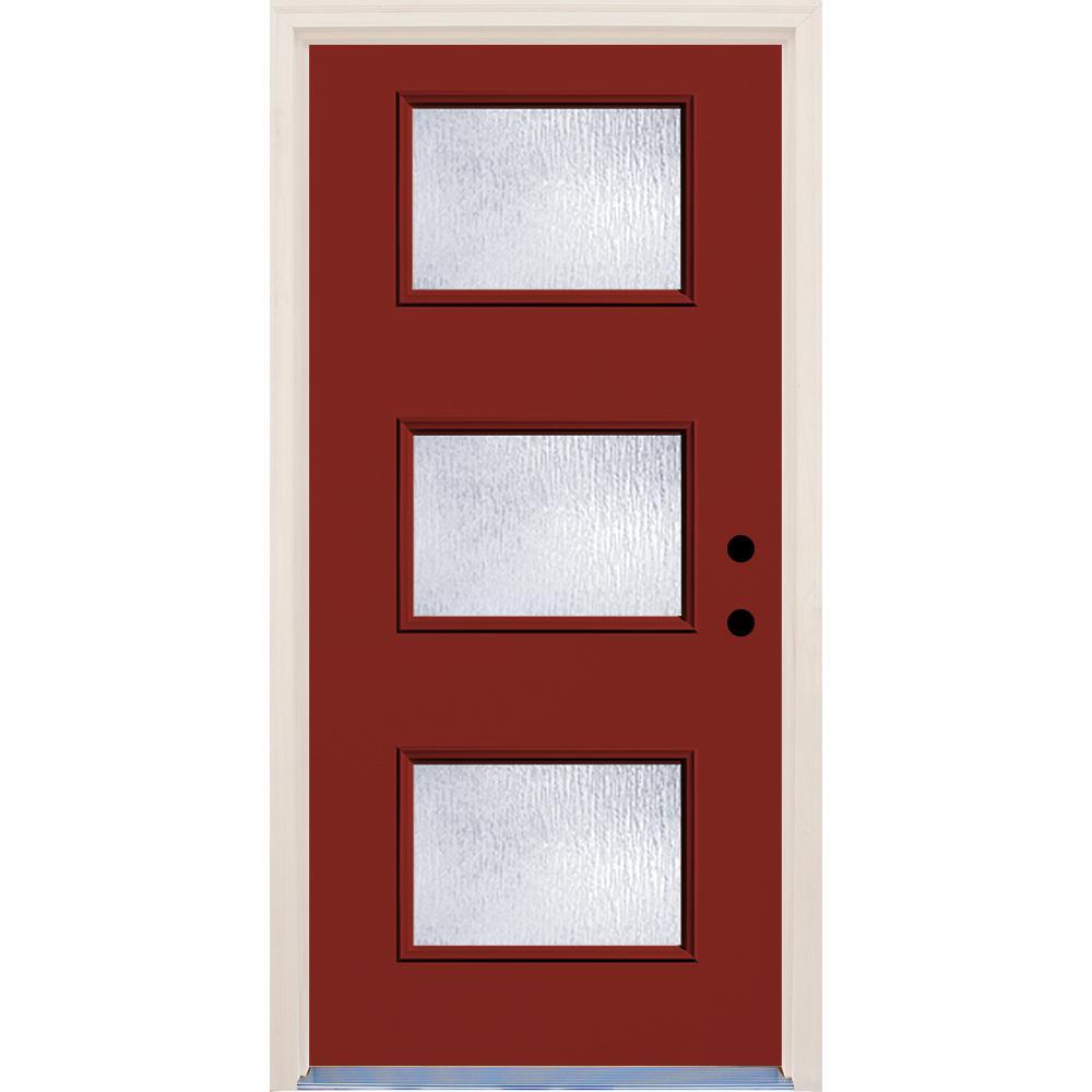 Builders Choice 36 in. x 80 in. Left-Hand Cordovan 3 Lite Rain Glass Painted Fiberglass Prehung Front Door with Brickmould