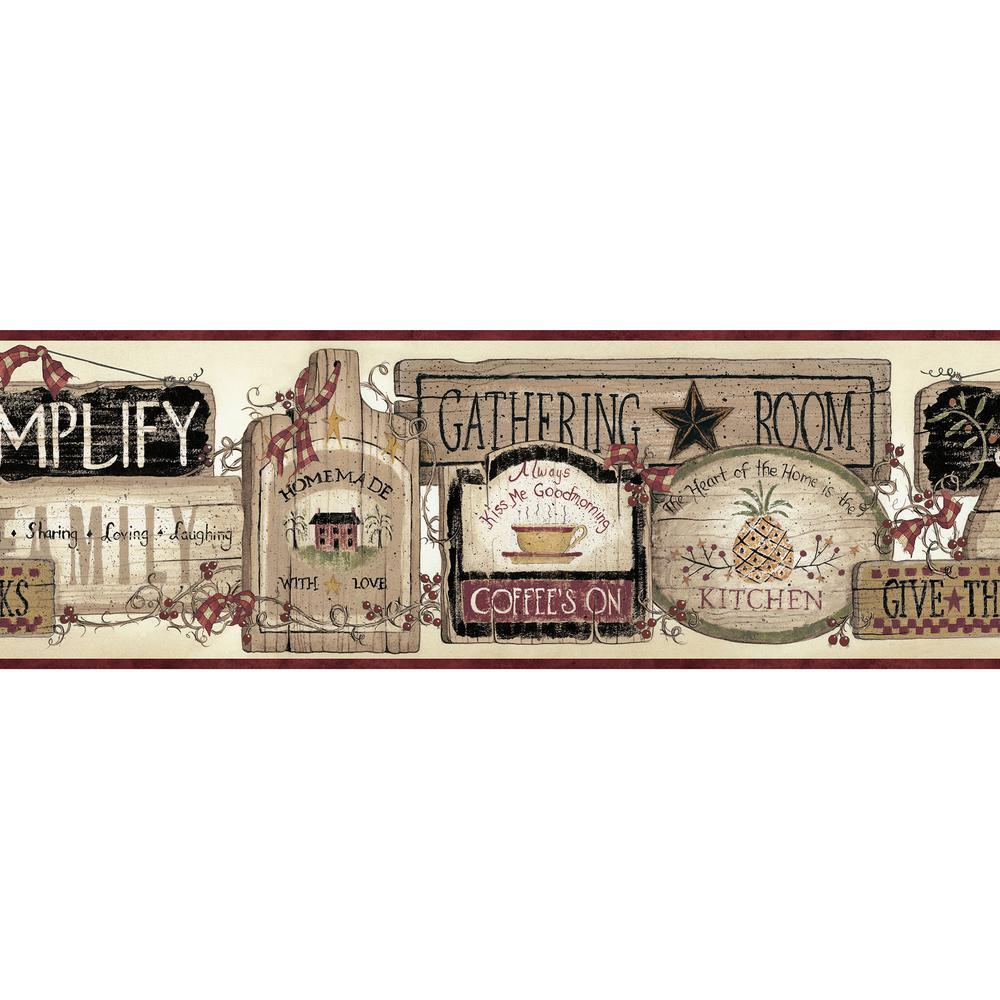 Alfred Red Gathering Room Signs Wallpaper Border Sample