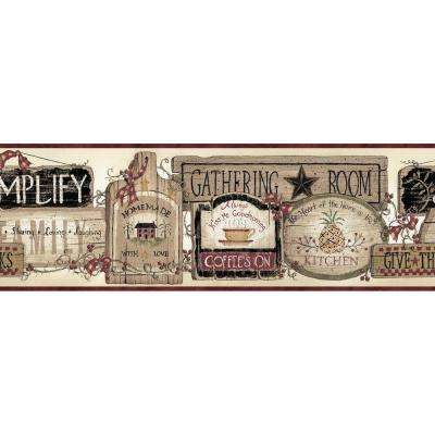 Alfred Red Gathering Room Signs Gold Wallpaper Border