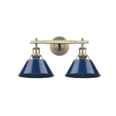 Orwell AB 2-Light Aged Brass Bath Light with Navy Blue Shade