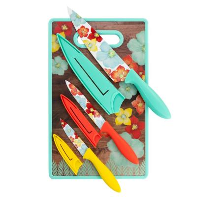 Jordana 7-Piece Stainless Steel Knife Set with Cutting Board in Assorted Colors