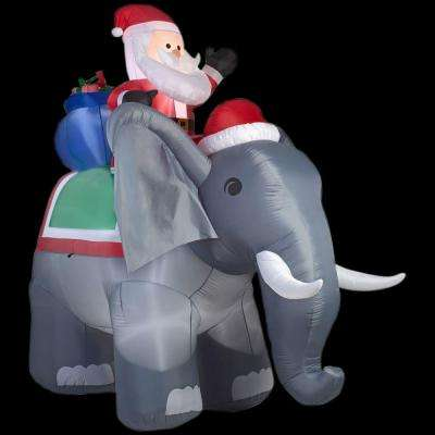 88.58 in. W x 122.05 in. D x 125.98 in. H Lighted Inflatable Santa on Elephant Scene