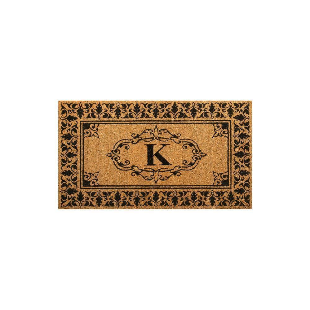 Welcome 36 in. x 72 in. Indoor/Outdoor Monogrammed Letter K Door Mat