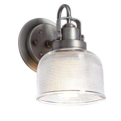 Archie Collection 5.75 in. 1-Light Antique Nickel Bath Sconce with Clear Prismatic Glass Shade