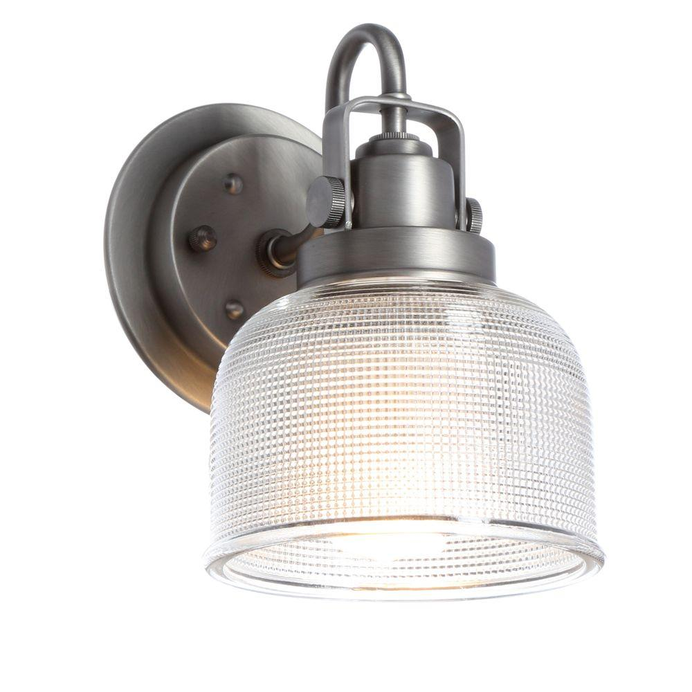 Progress Lighting Archie Collection 1-Light Antique Nickel Bath Sconce with Clear Prismatic Glass Shade