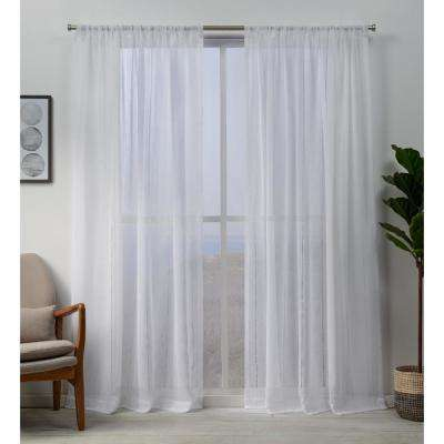 Hemstitch 54 in. W x 96 in. L Sheer Rod Pocket Top Curtain Panel in White (2 Panels)