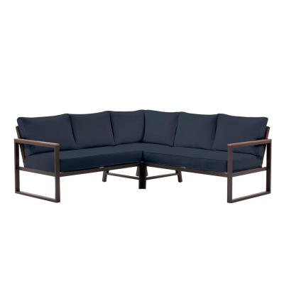 West Park Black Aluminum Outdoor Patio Sectional Sofa Seating Set with CushionGuard Midnight Navy Blue Cushions