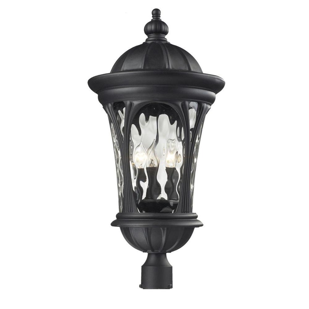 Lawrence 3-Light Outdoor Black Post Light