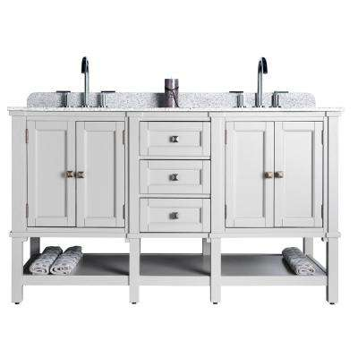 Ashlyn Double 22 in. W x 36 in. D Bath Vanity in Gray with Granite Vanity Top in White with Black Nickel Basins