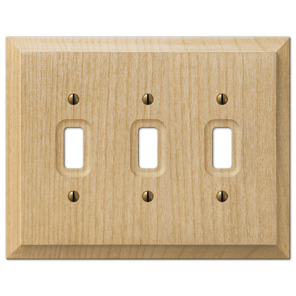 Hampton Bay Cabin 3 Toggle Wall Plate Unfinished Alder Wood
