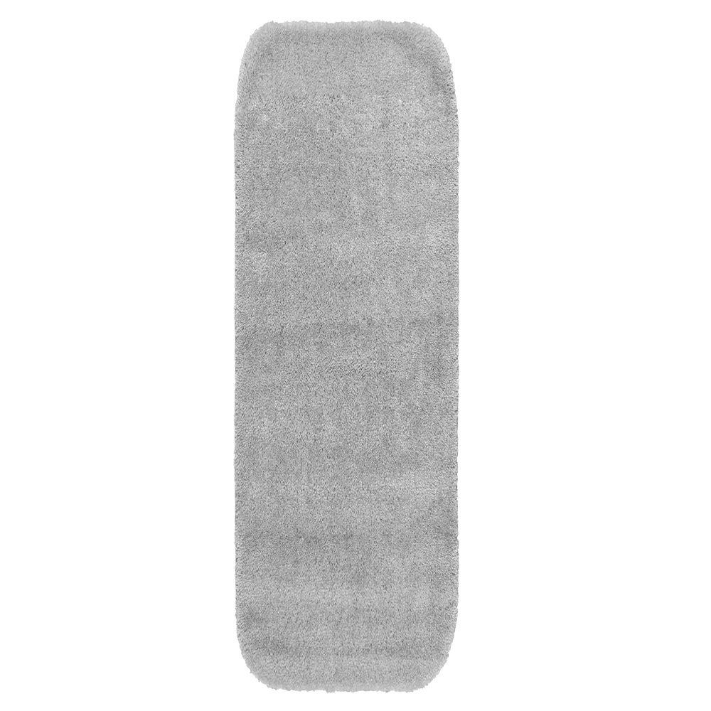 Garland Rug Traditional Platinum Gray 22 in. x 60 in. Washable Bathroom Accent Rug