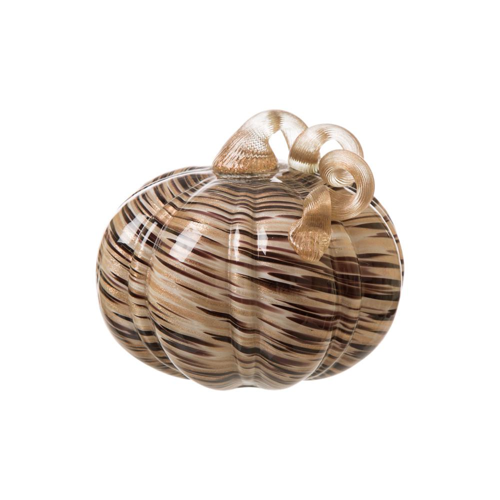 Glitzhome 7.48 in. D Handblown Brown/Gold Stripe Glass Decoration Glass Pumpkin