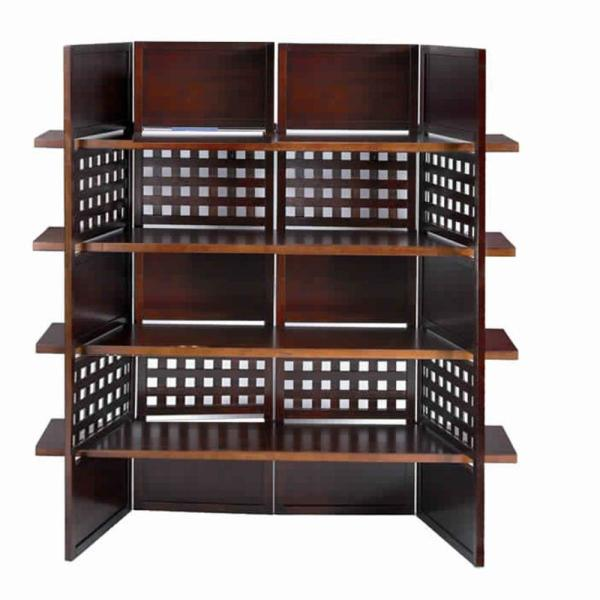 70.25 in. H Brown 4-Shelf Wooden Bookcase Room Divider with Cutout Design