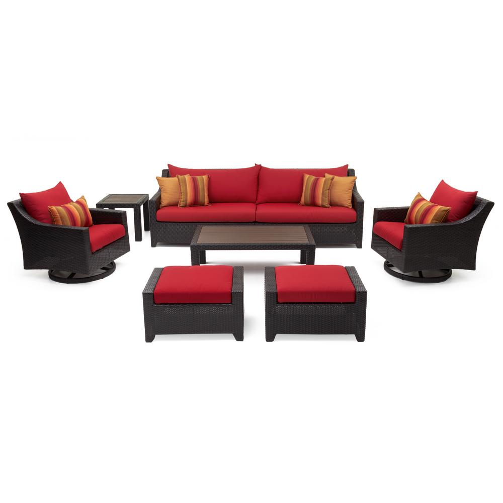Deco 8-Piece All-Weather Wicker Patio Deluxe Sofa and Motion Club Chair