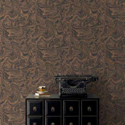 Charcoal and Rose Gold Marbled Wallpaper