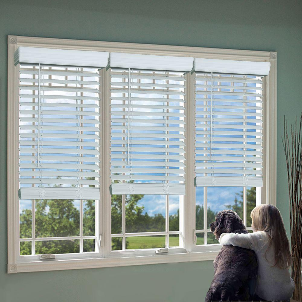 White 2 in. Cordless Faux Wood Blind - 34 in. W