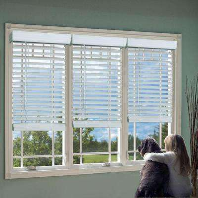 White 2 in. Cordless Faux Wood Blind