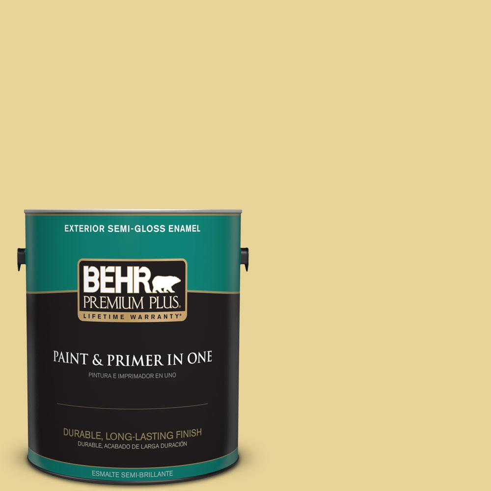 1-gal. #390D-4 Honey Beige Semi-Gloss Enamel Exterior Paint