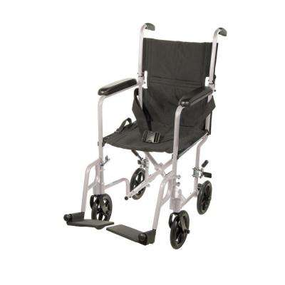 Lightweight Transport Wheelchair in Silver with 19 in. Seat