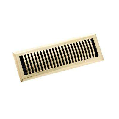 4 in. x 14 in. Classic Floor Register, Polished Brass