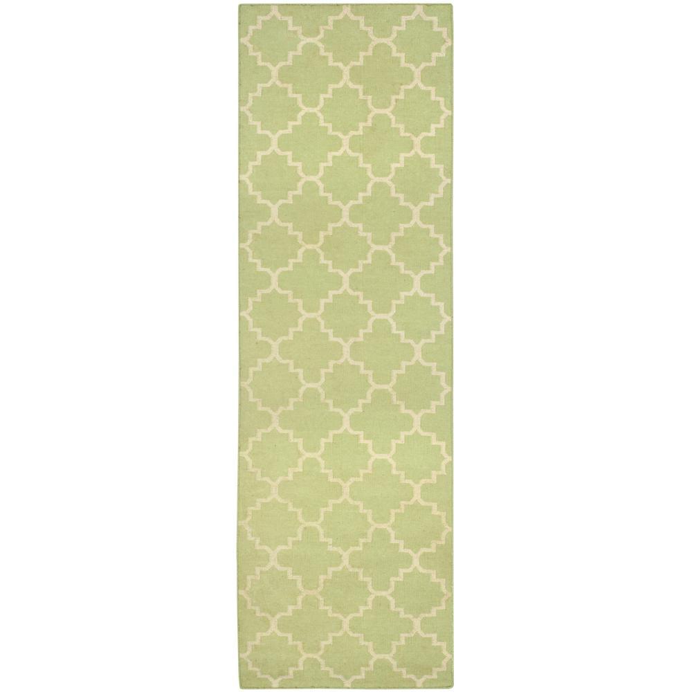 Dhurries Light Green/Ivory 3 ft. x 10 ft. Runner Rug