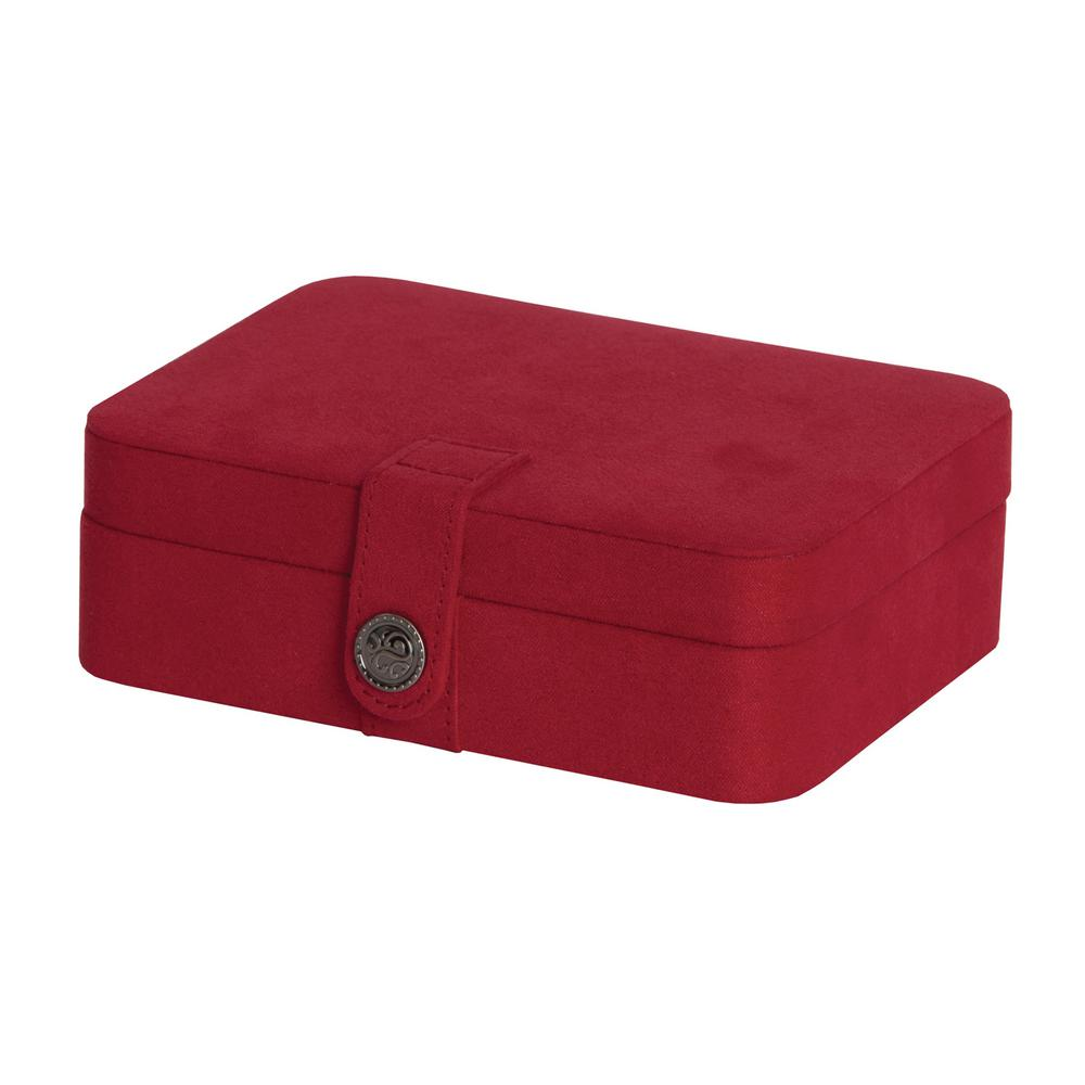 Mele Giana Red Plush Fabric Jewelry Box0057322M The Home Depot