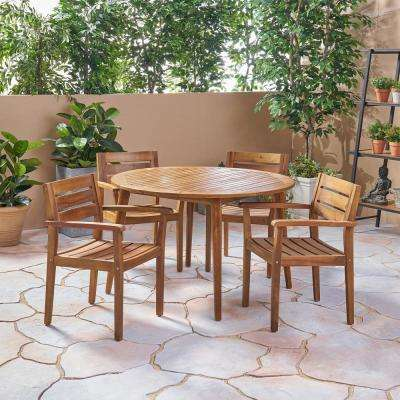 Stamford Brown 5-Piece Wood Outdoor Dining Set