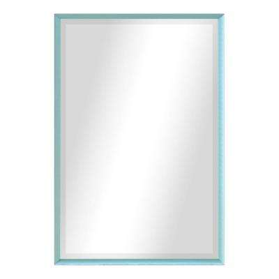 40.125 in. x 34.125 in. Robin's 's Egg Metal Framed Beveled Vanity/Wall Mirror