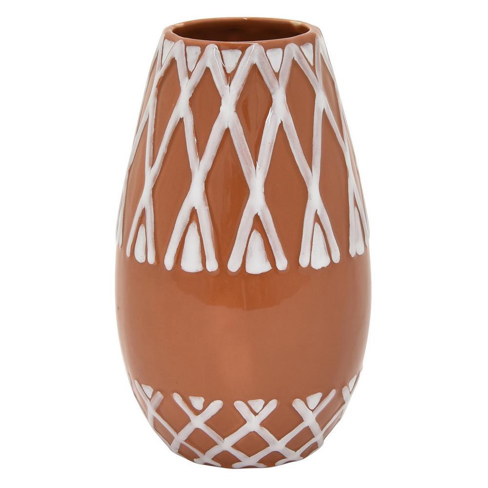 7.5 in. Ceramic Vase In Orange