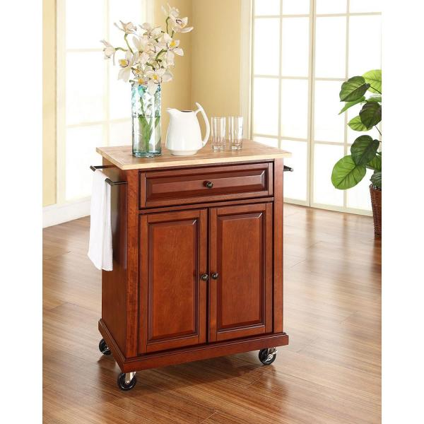 Crosley Cherry Kitchen Cart With Natural Wood Top KF30021ECH