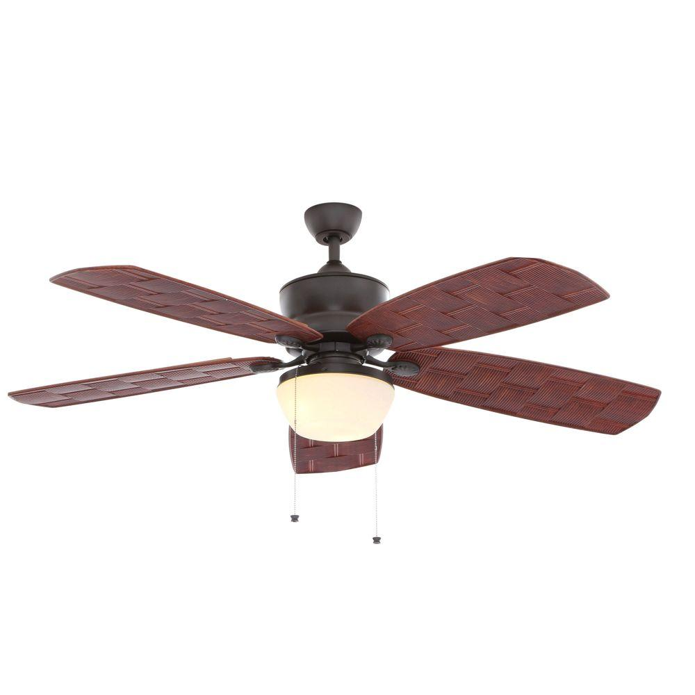 Hampton bay ceiling fans lighting the home depot natural iron indooroutdoor ceiling fan with light kit audiocablefo